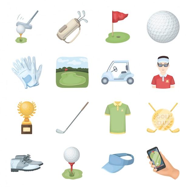 Gesetzte ikone der golfclubkarikatur. getrennte gesetzte sportausrüstung der karikatur. golfclub . Premium Vektoren