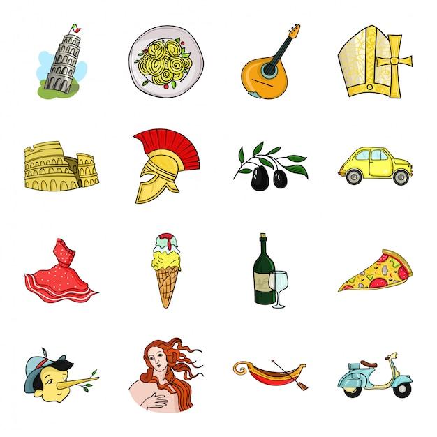 Gesetzte ikone der land-italien-karikatur. lokalisierter gesetzter ikoneneuropäischer italiener der karikatur. abbildung wahrzeichen italien. Premium Vektoren