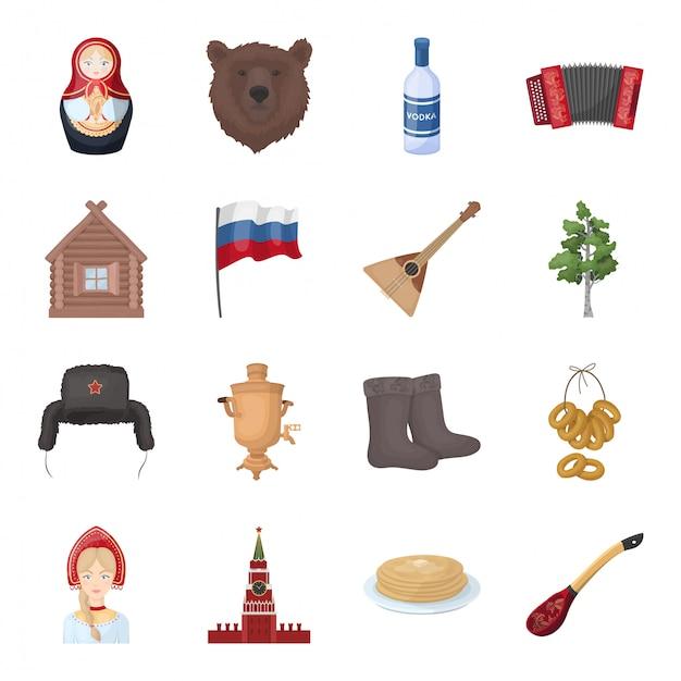 Gesetzte ikone der landrussland-karikatur. reise in moskau lokalisierte gesetzte ikone der karikatur. abbildung land russland. Premium Vektoren