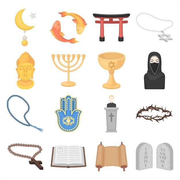Gesetzte ikone der religionskarikatur Premium Vektoren