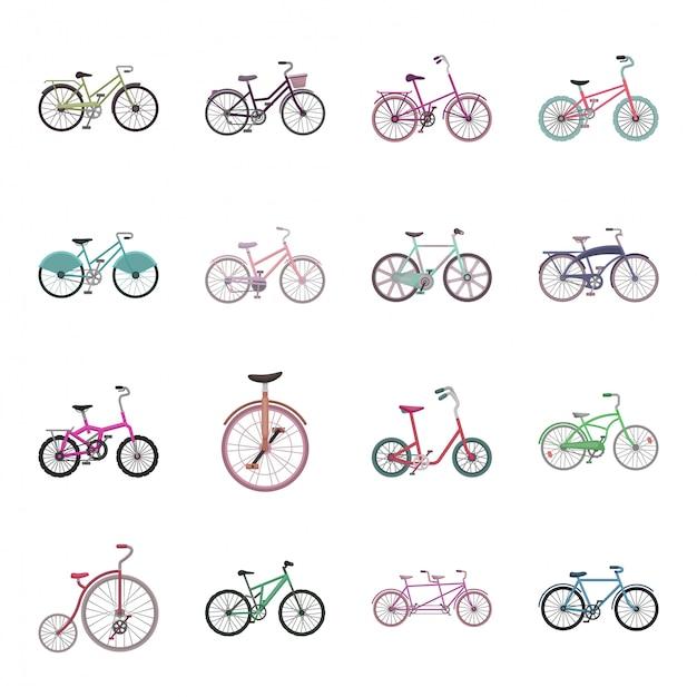 Gesetzte ikone der unterschiedlichen fahrradkarikatur. illustration fahrrad. getrenntes unterschiedliches fahrrad der gesetzten ikone der karikatur. Premium Vektoren