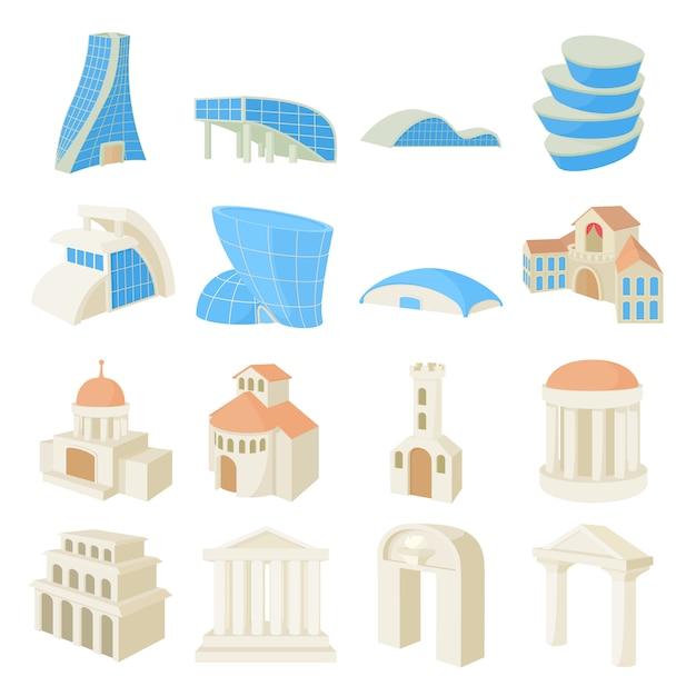 Gesetzte ikonen der architektur in lokalisiertem vektor der karikatur art Premium Vektoren