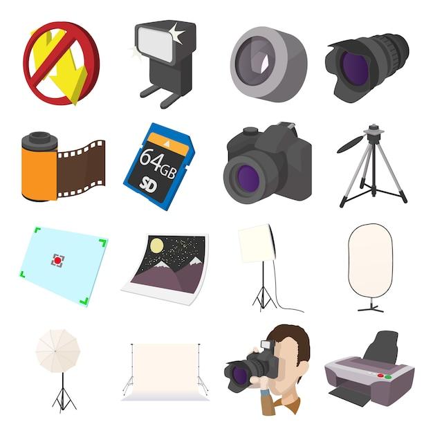 Gesetzte ikonen der fotografie im karikaturartvektor Premium Vektoren