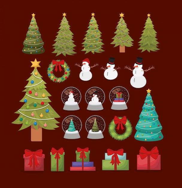 Gesetzte ikonen der glücklichen frohen weihnachten Kostenlosen Vektoren