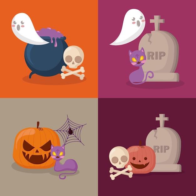 Gesetzte ikonen der halloween-feier Kostenlosen Vektoren