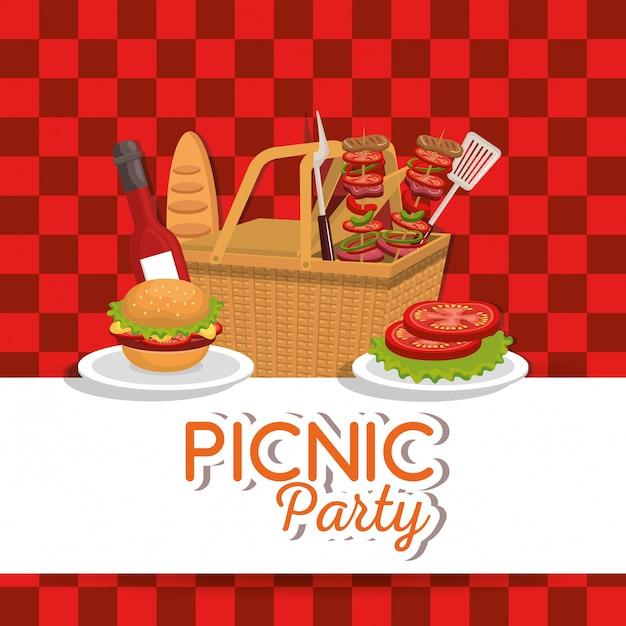Gesetzte ikonen der picknick-party einladung Kostenlosen Vektoren