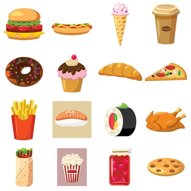 Gesetzte ikonen des lebensmittels in der karikaturart lokalisiert auf weißem hintergrund Premium Vektoren