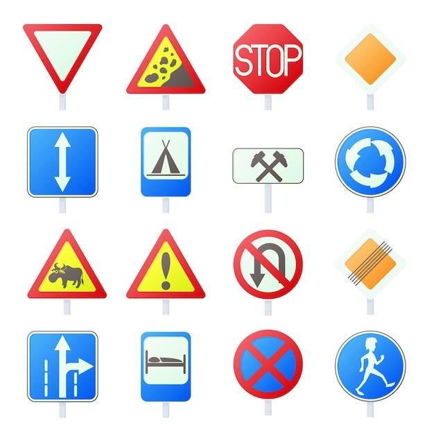 Gesetzte ikonen des verkehrsschildes in lokalisiertem vektor der karikatur art Premium Vektoren