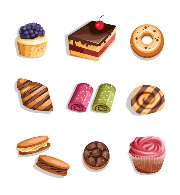 Gesetzte ikonen und elemente des bäckereiprodukts Premium Vektoren