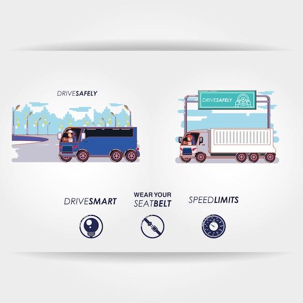Gesetzte ikonenvektor-illustrationsdesign des fahrers sicher kampagne Premium Vektoren