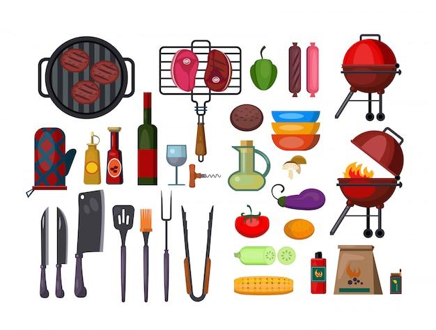 Gesetzte illustration des barbecues Kostenlosen Vektoren