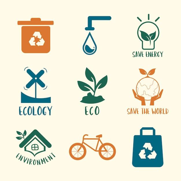 Gesetzte illustration des umweltschutzerhaltungssymbols Kostenlosen Vektoren