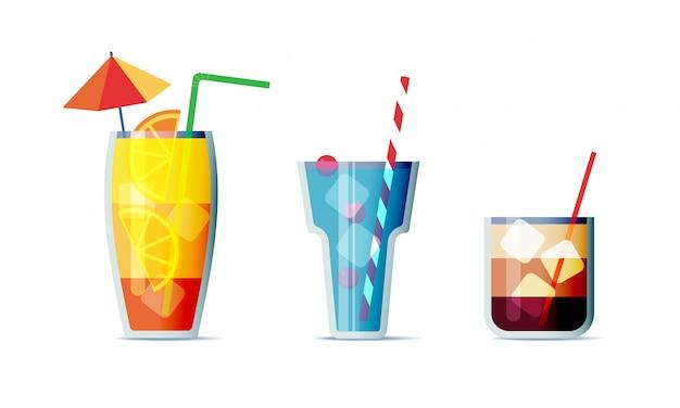 Gesetzte karikaturdesignart der cocktailikone. drei beliebte alkoholische getränke für design-menü Premium Vektoren