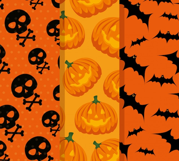 Gesetzte muster der glücklichen halloween-feier Kostenlosen Vektoren