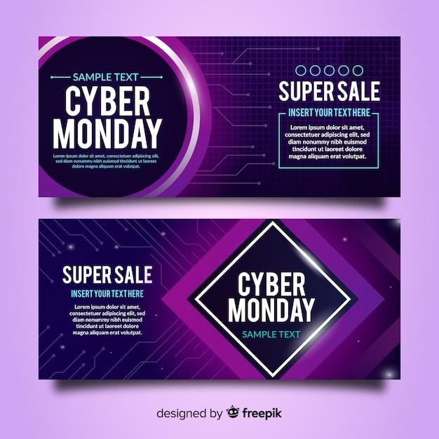 Gesetzte neonart der cyber-montag-verkaufsfahne Kostenlosen Vektoren