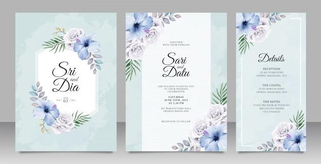 Gesetzte schablone der eleganten hochzeitseinladungskarte mit schönem blumen auf blauem hintergrund Premium Vektoren