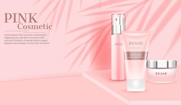 Gesetzte schablone der rosa kosmetischen hautpflege Premium Vektoren