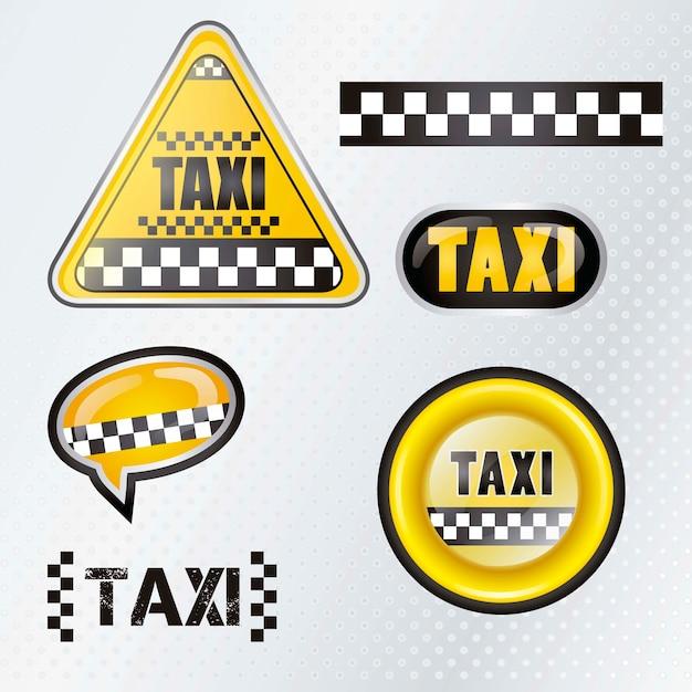Gesetzte symbole des taxis mit silbernem hintergrund Premium Vektoren