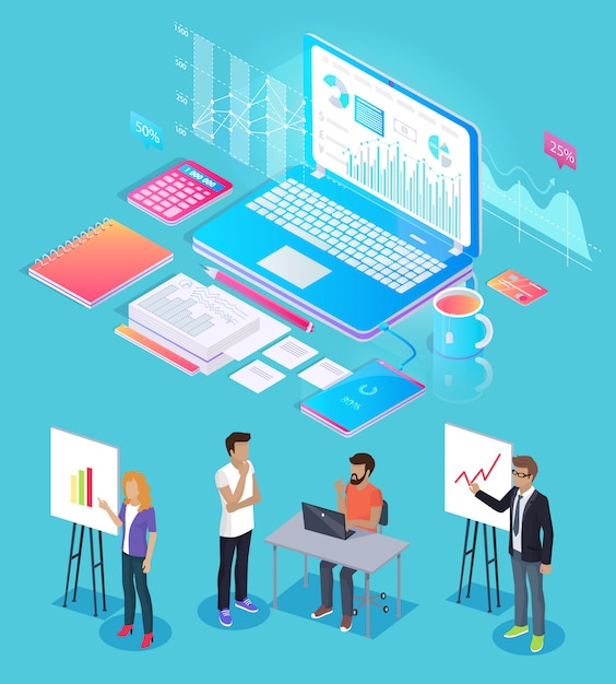 Gesetzte vektor-illustration digital analytics people Premium Vektoren