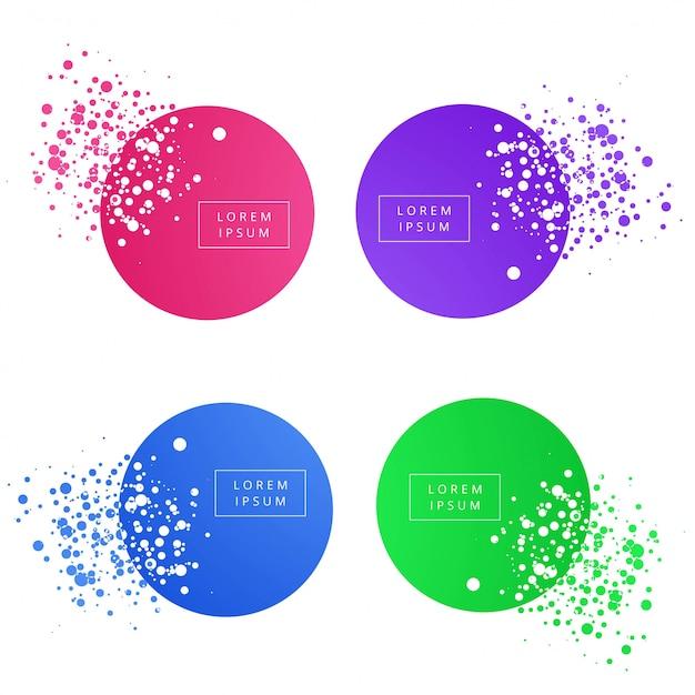 Gesetzte vektordesign der abstrakten bunten kreisfahne Kostenlosen Vektoren
