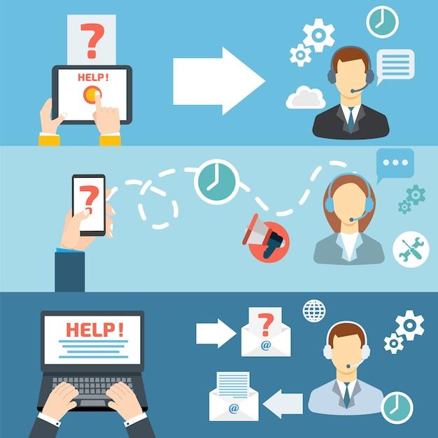 Gesetzte vektorillustration der flachen fahne des call-center-kontakts des technischen supports Premium Vektoren