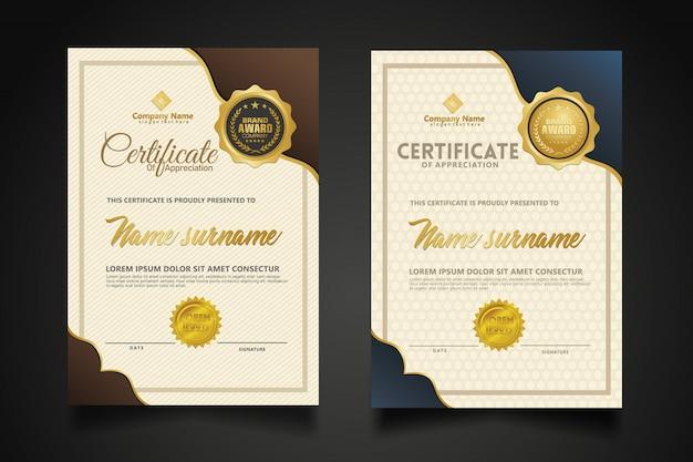 Gesetzte vertikale zertifikatschablone mit modernem musterhintergrund der luxus- und eleganten beschaffenheit. Premium Vektoren