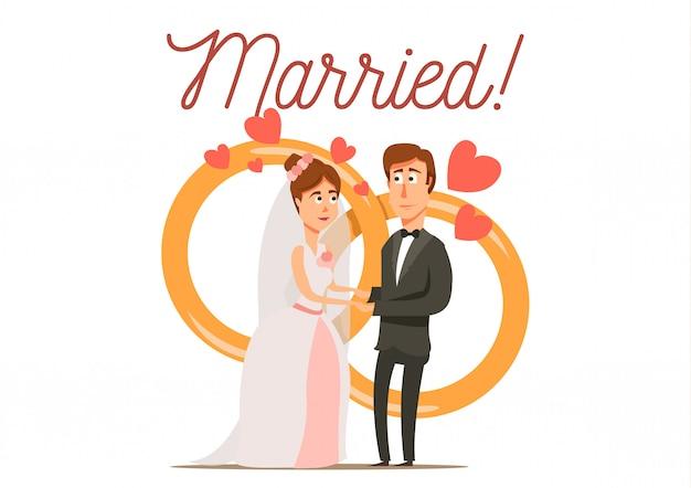 Gesetzter flacher hintergrund der heiratscheidung mit eben braut- und bräutigamcharaktern des verheirateten paars mit eheringen Kostenlosen Vektoren
