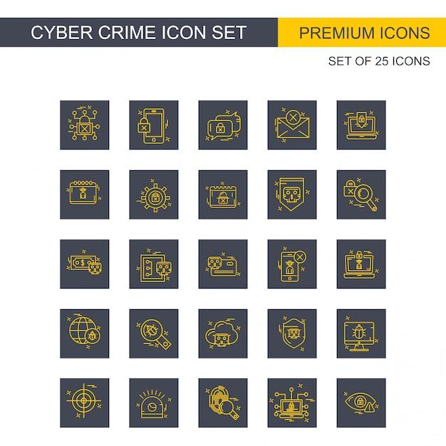 Gesetzter vektor der cyberverbrechenikonen Kostenlosen Vektoren