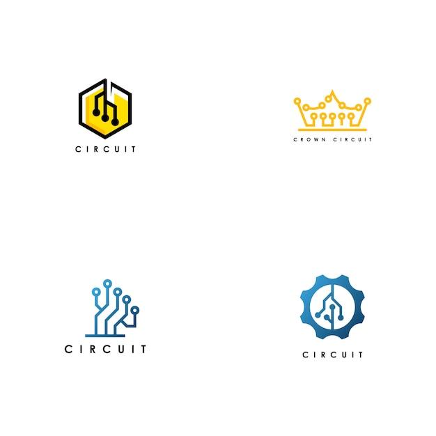Gesetzter vektor des stromkreis-logos Premium Vektoren