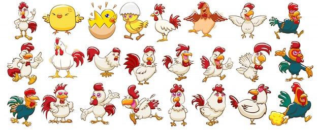 Gesetztes clipart des huhnvektors Premium Vektoren