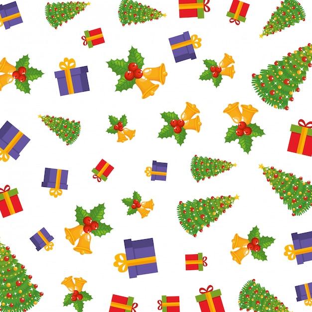 Gesetztes ikonenmuster der frohen weihnachten Premium Vektoren