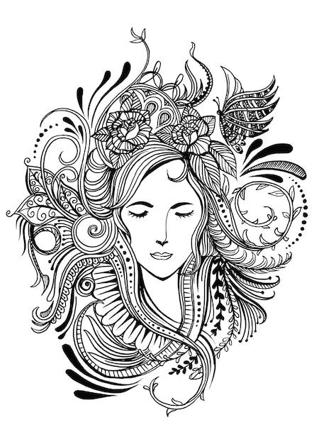 Gesicht der Frau in einem Rahmen von Blumen | Download der Premium ...