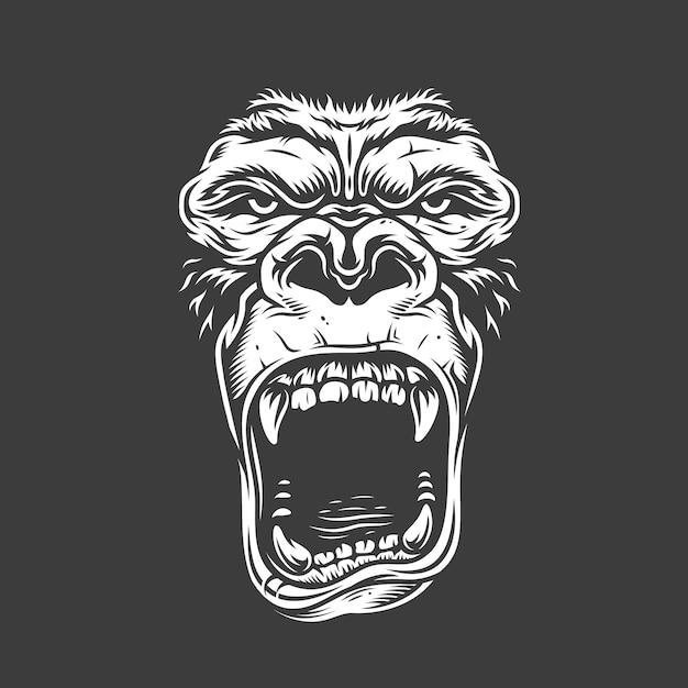 Gesicht des gorillas auf weiß Kostenlosen Vektoren