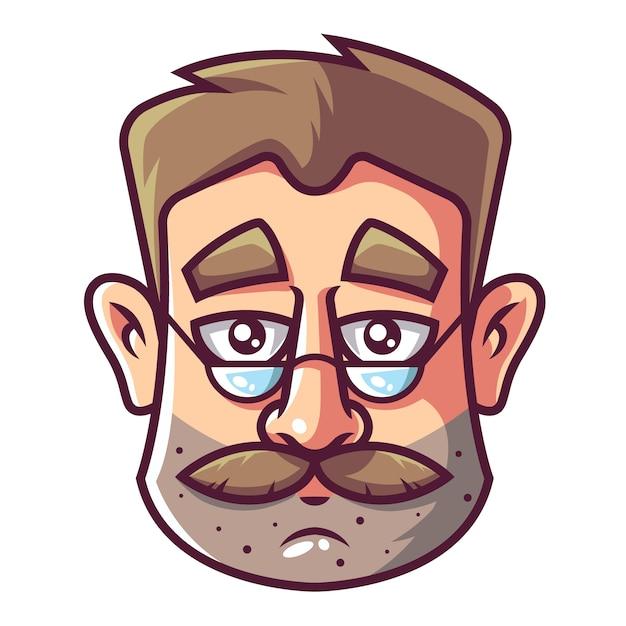 Gesicht eines mannes mit bart und brille. Premium Vektoren