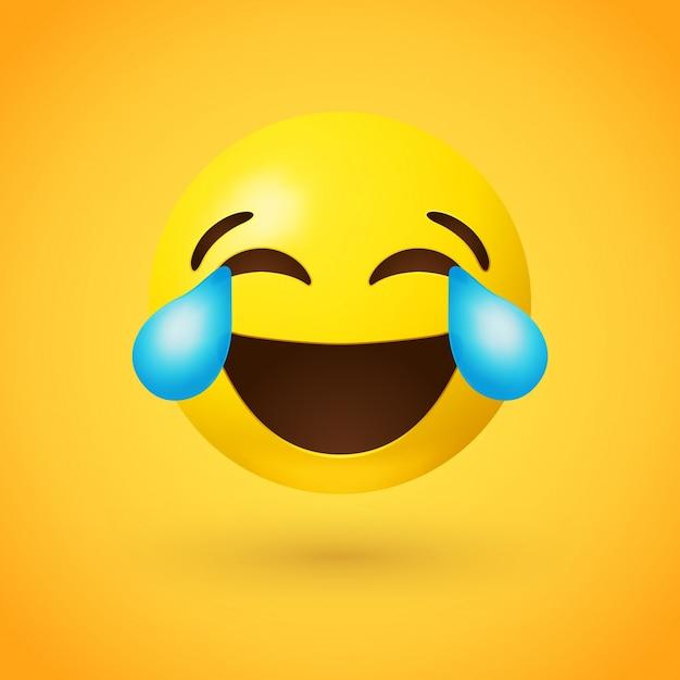 Gesicht mit freudentränen emoji Premium Vektoren