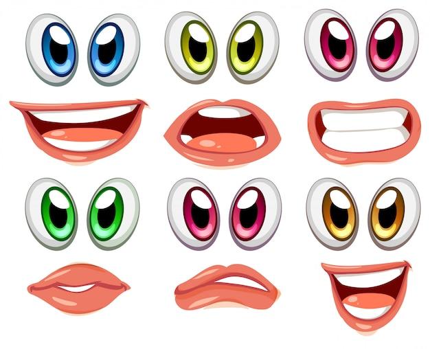 Gesichter mit verschiedenen augenfarben Premium Vektoren
