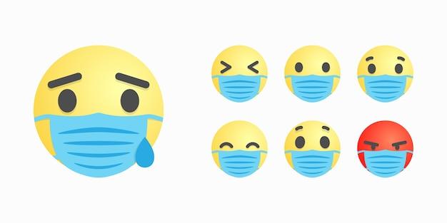 Gesichter oder lächeln in der operationsmaske mit unterschiedlichem gesichtsausdruck Premium Vektoren