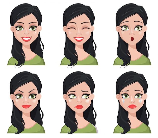 Gesichtsausdrücke der schönen brunettefrau in der grünen bluse Premium Vektoren