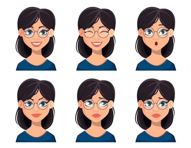 Gesichtsausdrücke der schönen frau in gläsern Premium Vektoren