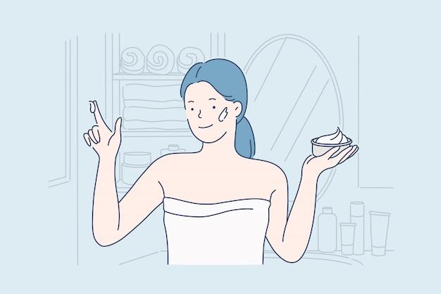 Gesichtscreme, pflege. Premium Vektoren