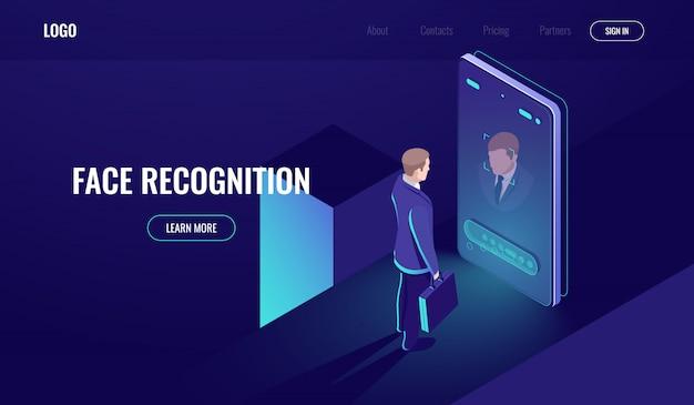 Gesichtserkennung, isometrische ikone, mannblick in die telefonkamera, biometrische technologie Kostenlosen Vektoren