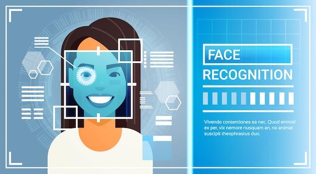 Gesichtserkennungssystem augenretina-scanning der frau Premium Vektoren