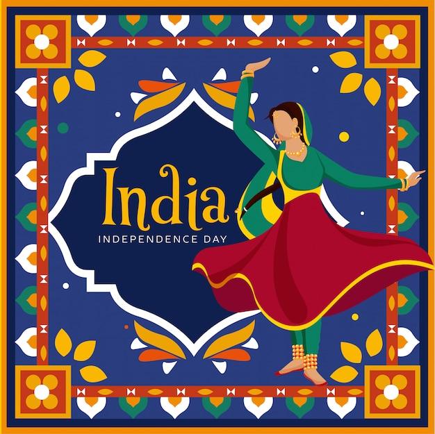Gesichtslose indische frau, die klassischen tanz auf buntem dekorativem weinlesestilhintergrund in kitschkunst für indien-unabhängigkeitstag-feier tut. Premium Vektoren