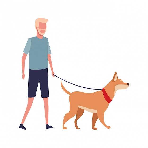 Gesichtsloser kerl gehender hund Premium Vektoren