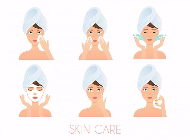 Gesichtspflege routine. mädchen, das ihr gesicht mit verschiedenen aktionen säubert und pflegt. hautpflege . Premium Vektoren