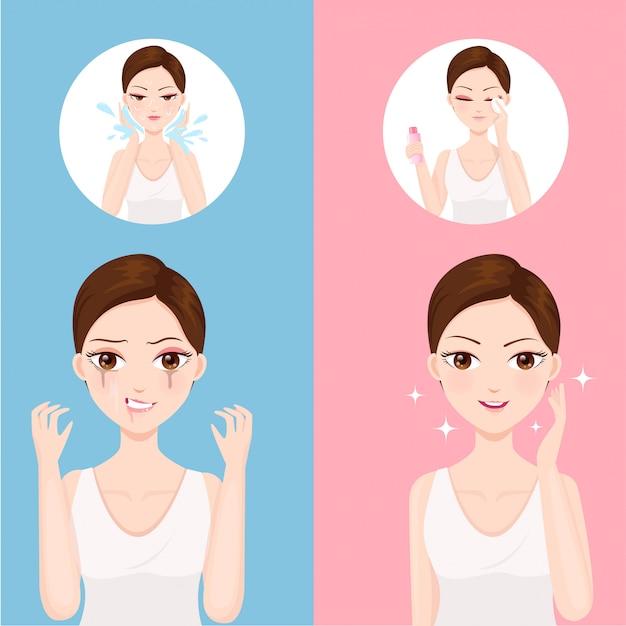 Gesichtsreinigung mit wasser und reinigungswasser Premium Vektoren