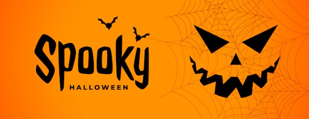 Gespenstische halloween-furchtsame fahne mit geistgesicht Kostenlosen Vektoren