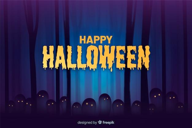 Gespenstische halloween-nacht im waldhintergrund Kostenlosen Vektoren