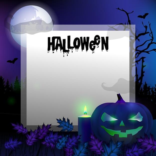 Gespenstischer halloween-hintergrund der kartenschablone mit kürbisen Premium Vektoren
