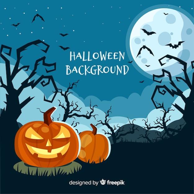 Gespenstischer halloween-hintergrund mit flachem design Kostenlosen Vektoren